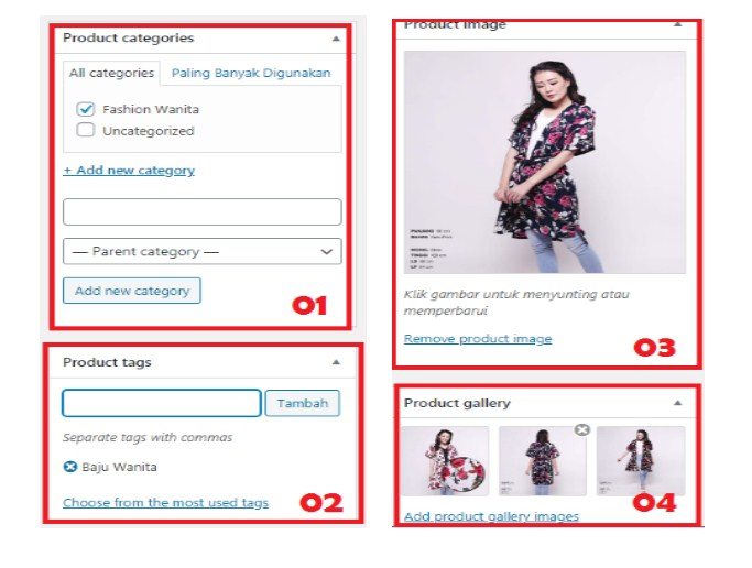 Pengaturan produk toko online
