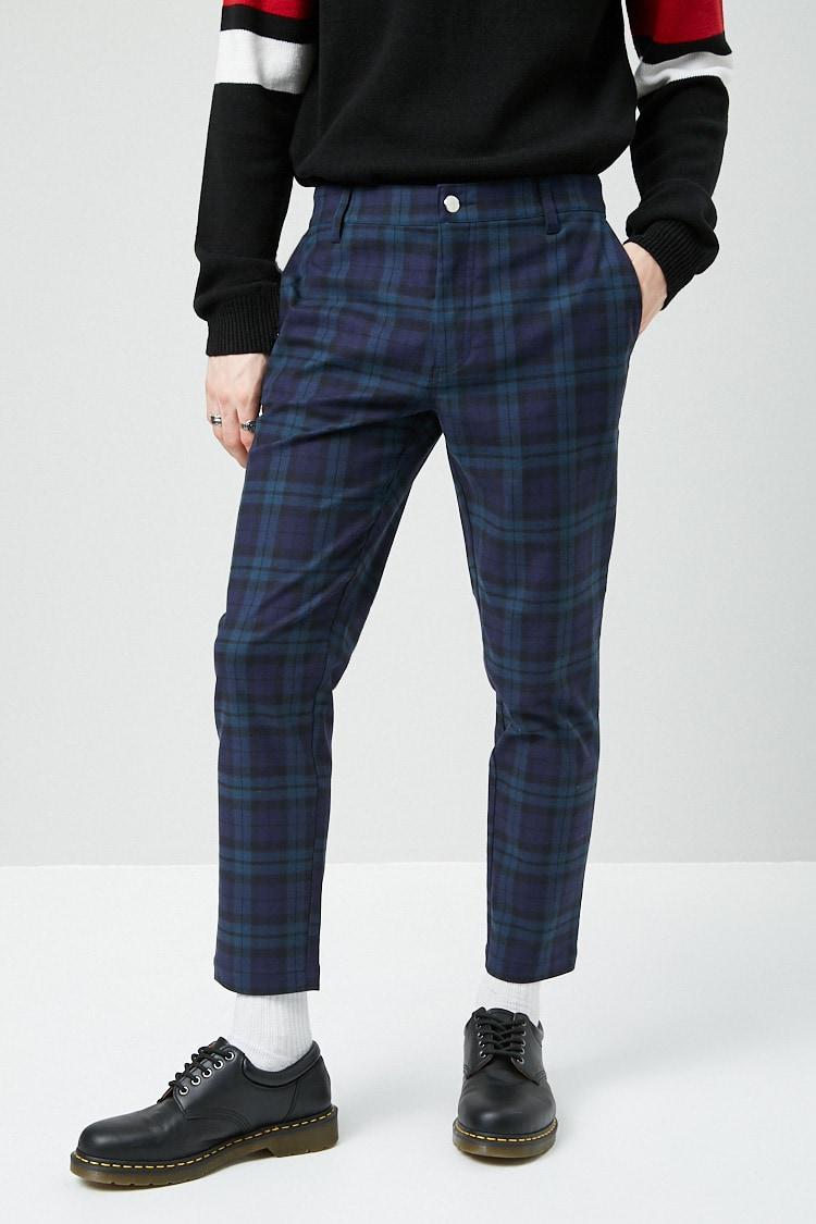 Plaid Slim-Fit Woven Pants