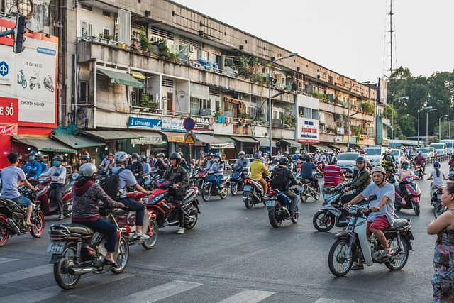 The streets of Vietnam busy with Motorcycle riders