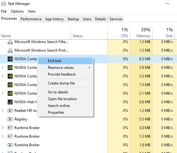 end task nVidia container in task manager