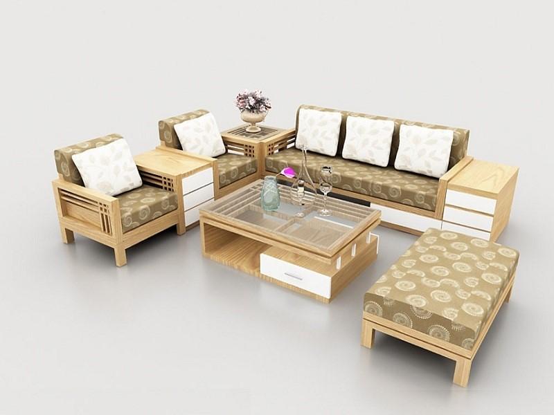 Bộ sofa gỗ sồi hoa văn tinh tế