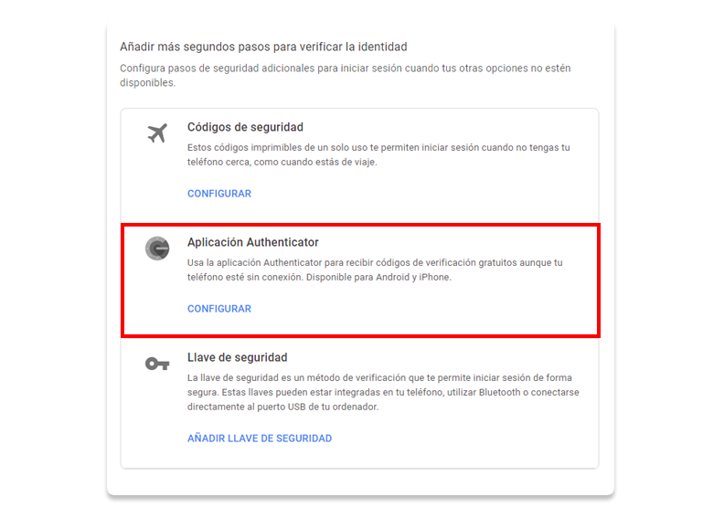 Elegir la opción Aplicación Authenticator en Google.