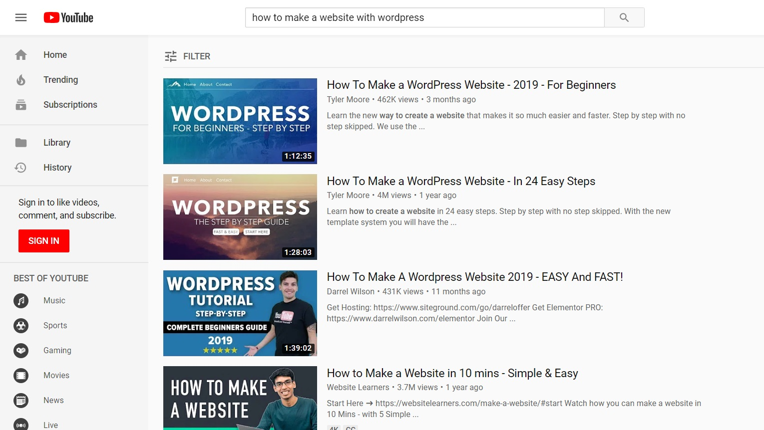 "Youtube search results for ""How to make a website with WordPress"""