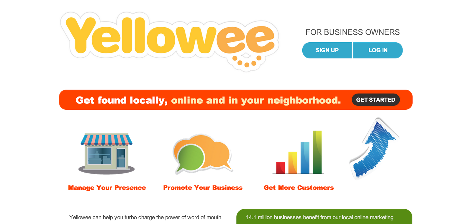Yellowee for Business Owners homepage