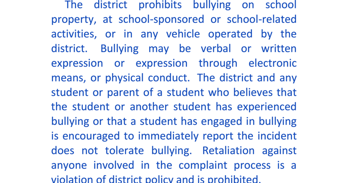 policies and procedures in response to concerns or evidence of bullying Advice for parents and schools on different types of anti-bullying policies advice on your school's anti-bullying concerns that victims of bullying may be.