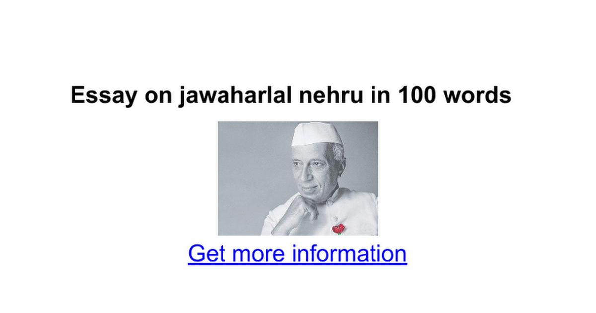 essay for kids on nehru