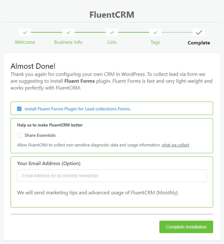 fluentcrm setup wizard, installing fluent forms