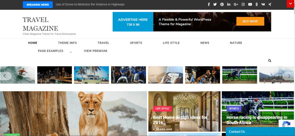 Travel Magazine WordPress Theme