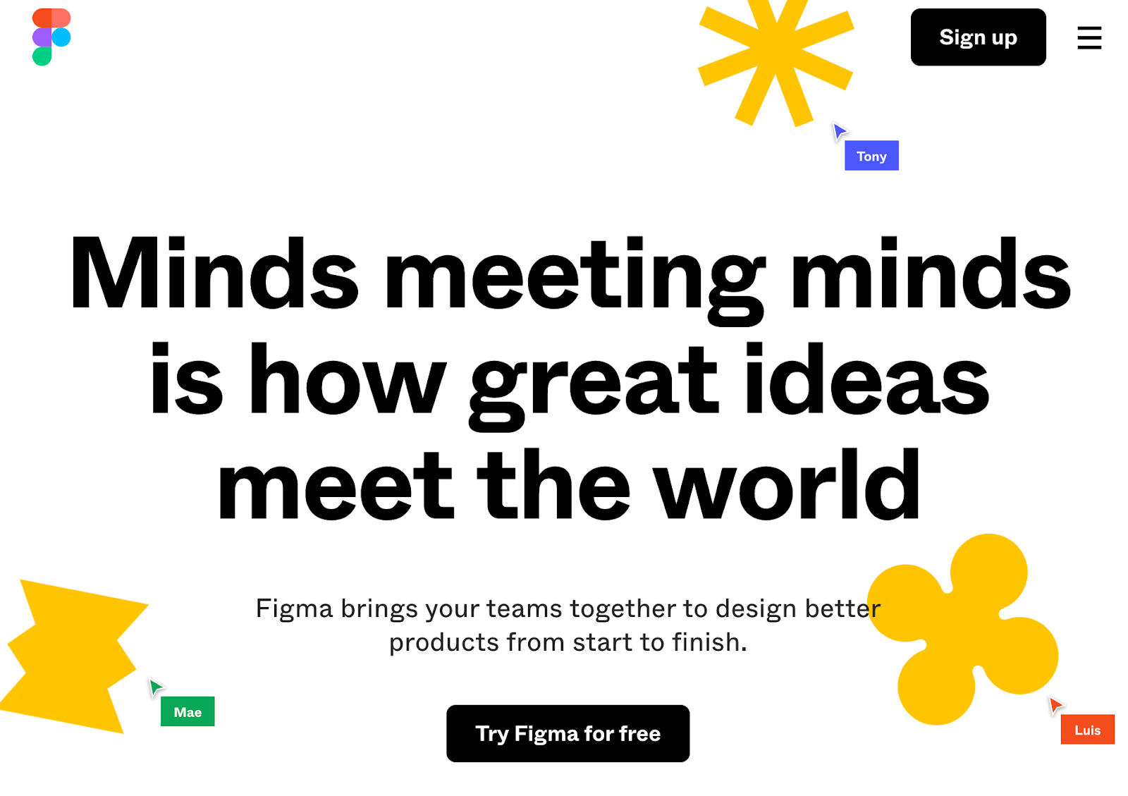 Figma wirefram tool homepage that reads minds meeting minds is how great ideas meet the world
