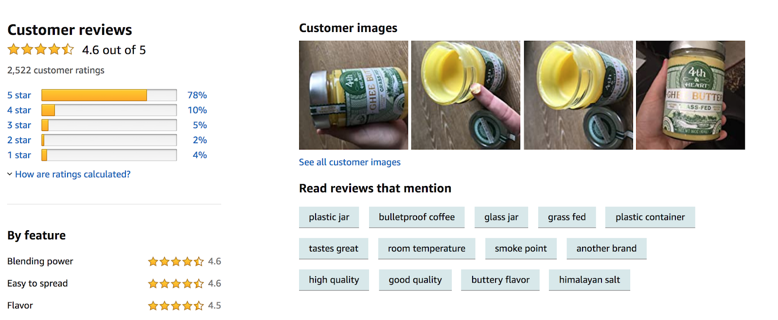 Customer review example from Ghee butter brand