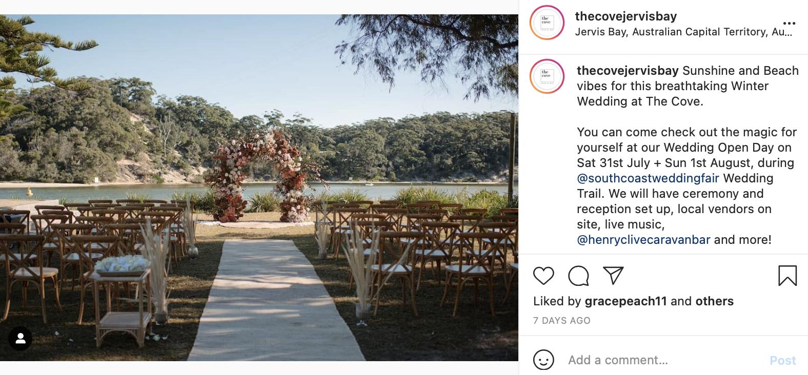 Jervis Bay wedding reception