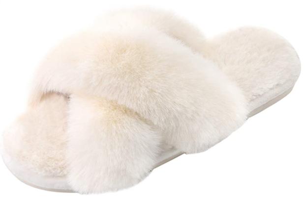 stylish cross band slippers faux fur