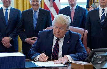 Image result for trump signing stimulus check