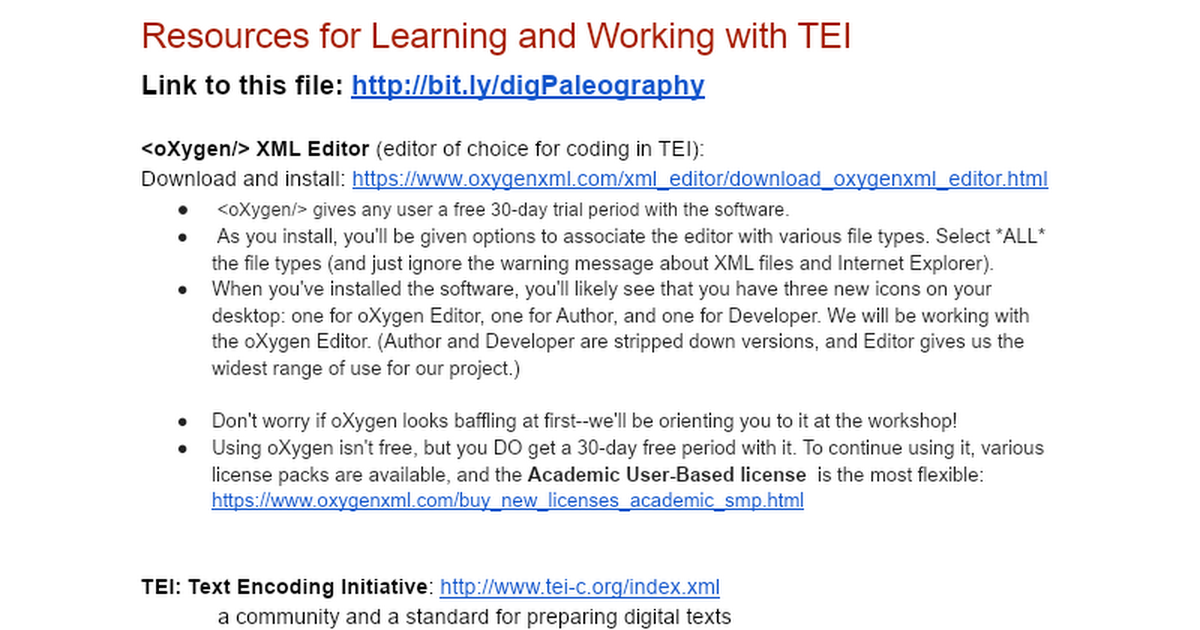 Resources for working with TEI - Google Docs