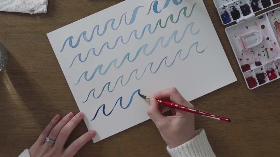 Mindfulness exercises can be as simple as painting waves