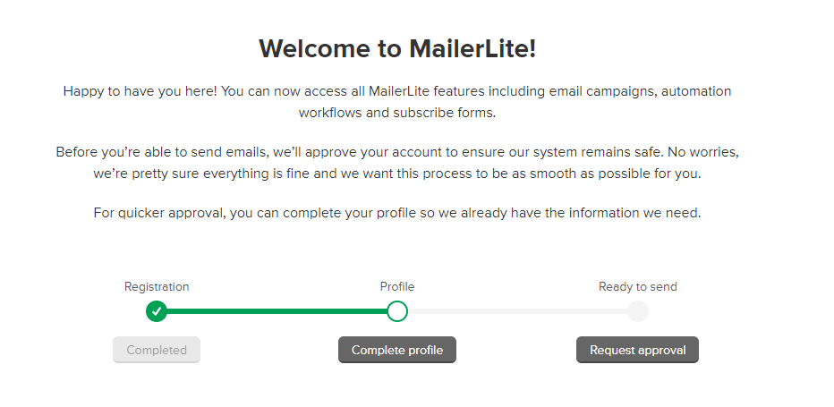 a screenshot of the account application process on mailerlite