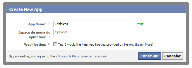 App Facebook para Pages
