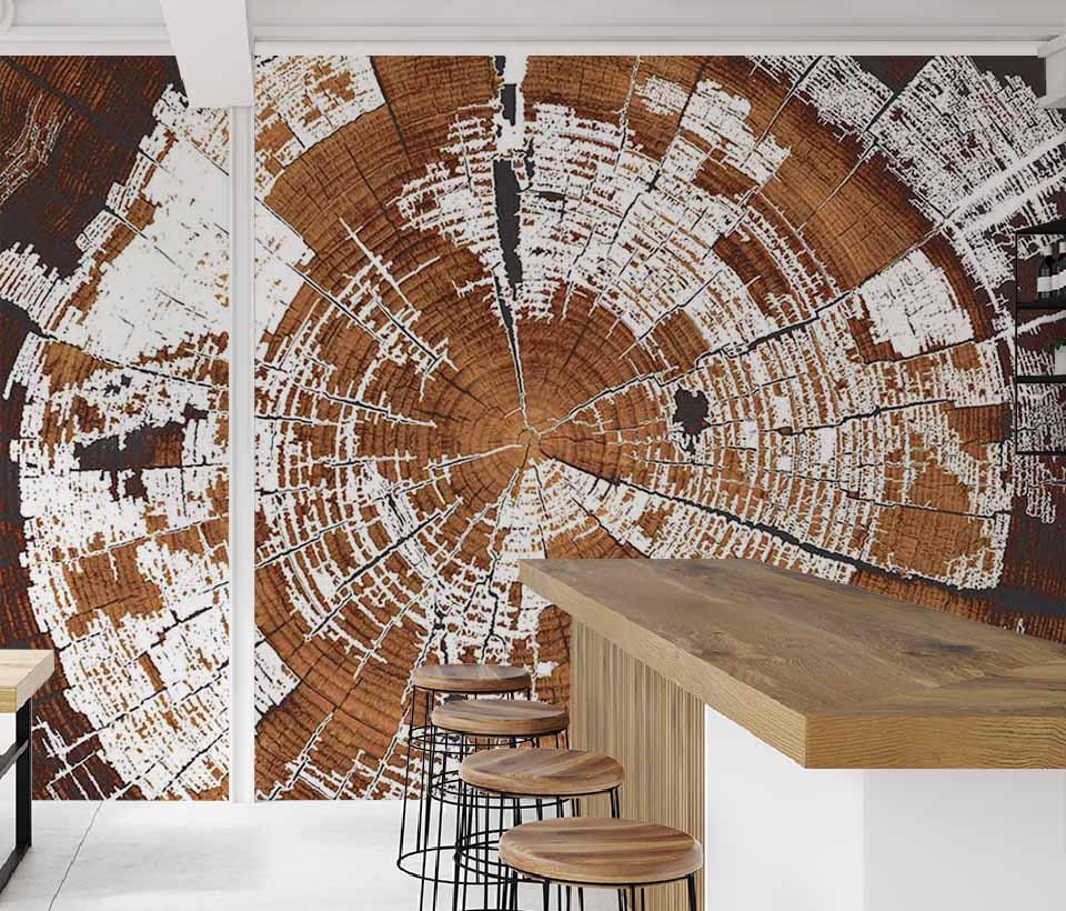 Фотообои ствол дерева в интерьере спальни