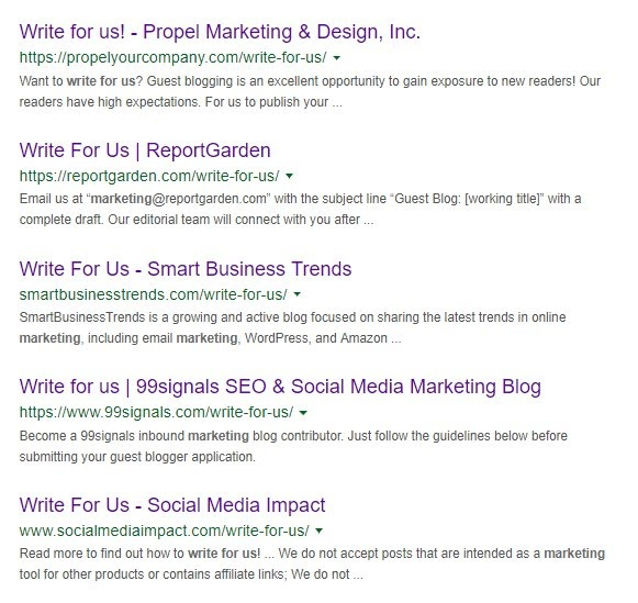 guest blogging serp results