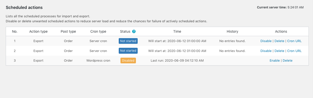 List of scheduled actions in the Import Export plugin for WooCommerce