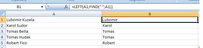 Excel: Práca s textovými reťazcami v bunkách 5