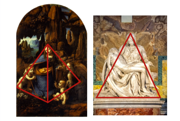 Design composition 2 - Pyramid structure in da Vinci and Michelangelo's works.