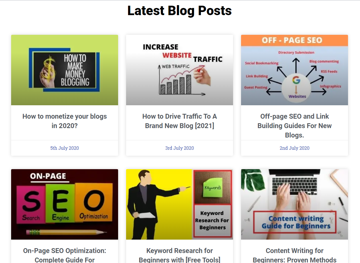 An image showing all the latest blogs