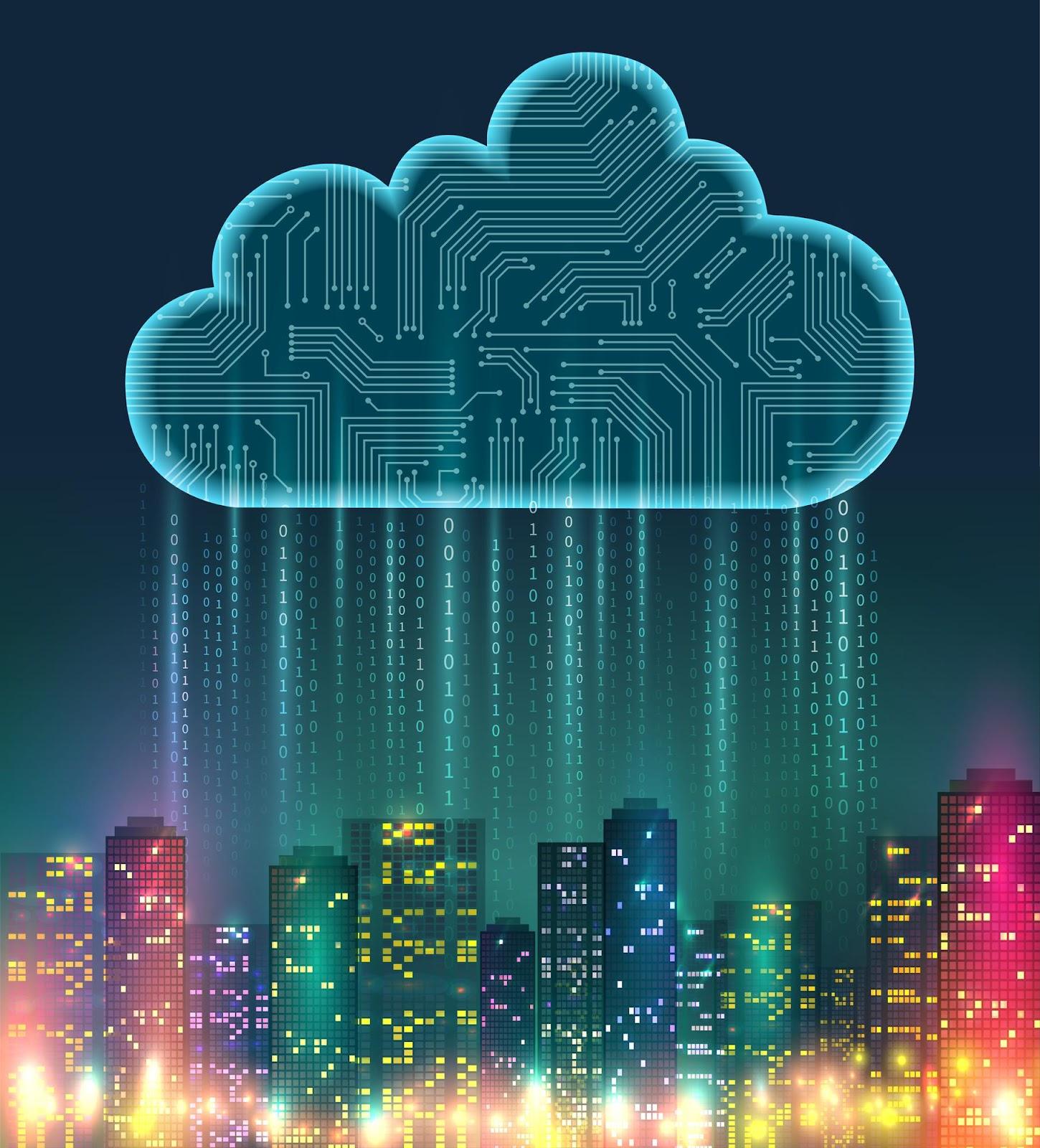 Imagem criada digitalmente, na qual um ícone no formato nuvem chove números sobre a cidade, ilustrando o que significa backup e sua importância na modalidade cloud.