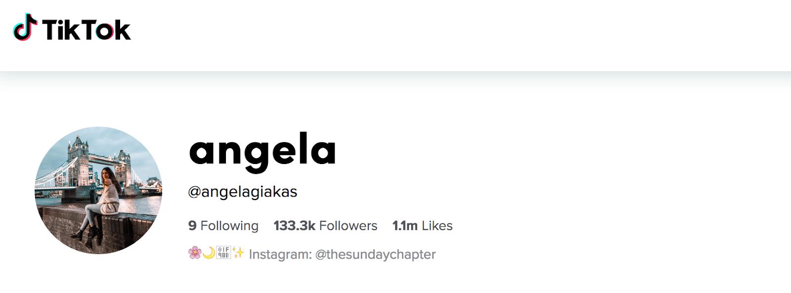 Travel influencers on TikTok - Angela