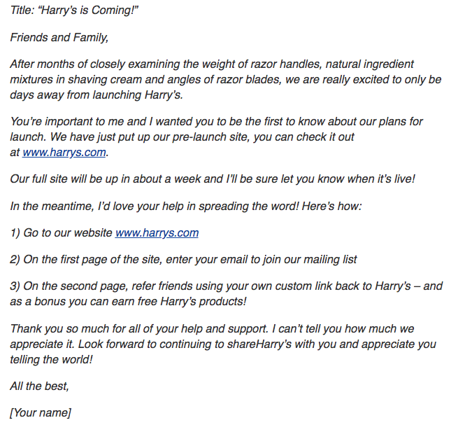 Email from Harry's