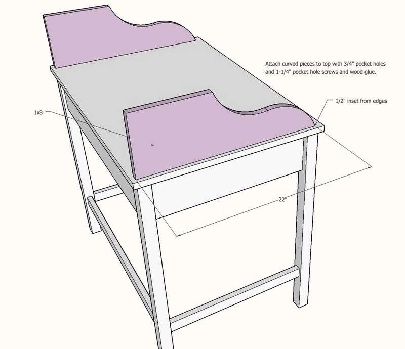 Эскиз простого стола-бюро