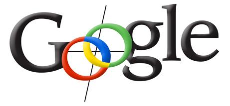 Vroeg Google-logo waarbij letters zwart zijn, behalve Os die zijn ontworpen om op een kompas te lijken
