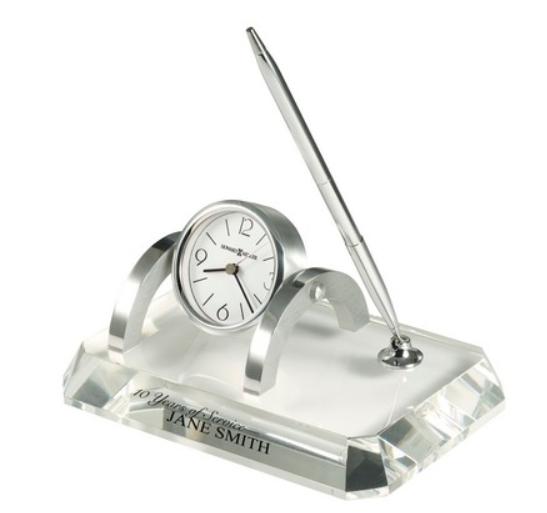 Howard Miller Prominence Crystal Desk Set w/ Clock & Pen