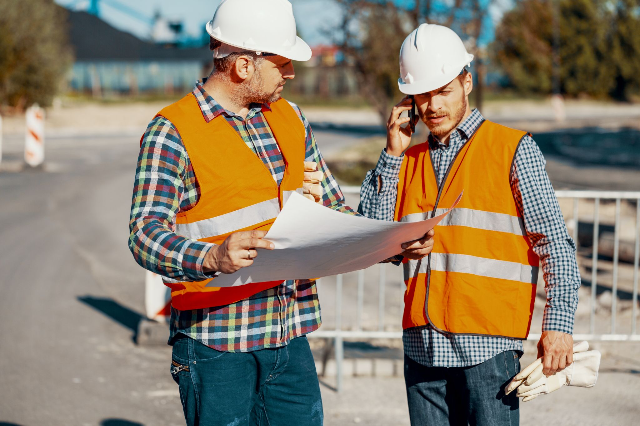 two structural engineers discussing a project