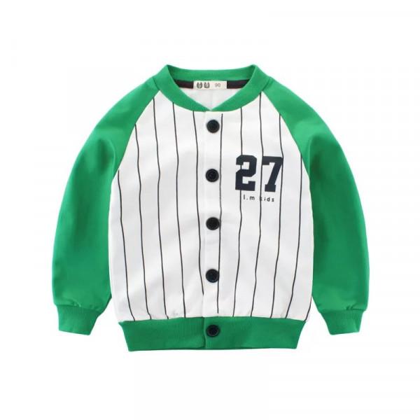 Toddler Boy Striped Number 27 Baseball Jacket