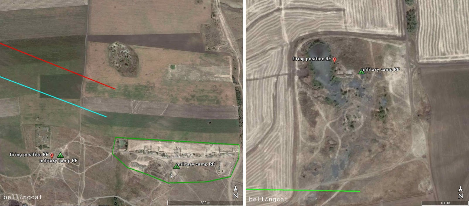 Firing position 1 and military camp (left) and Firing position 2 and military camp (right) Both Google Earth satellite images from 08/08/2014