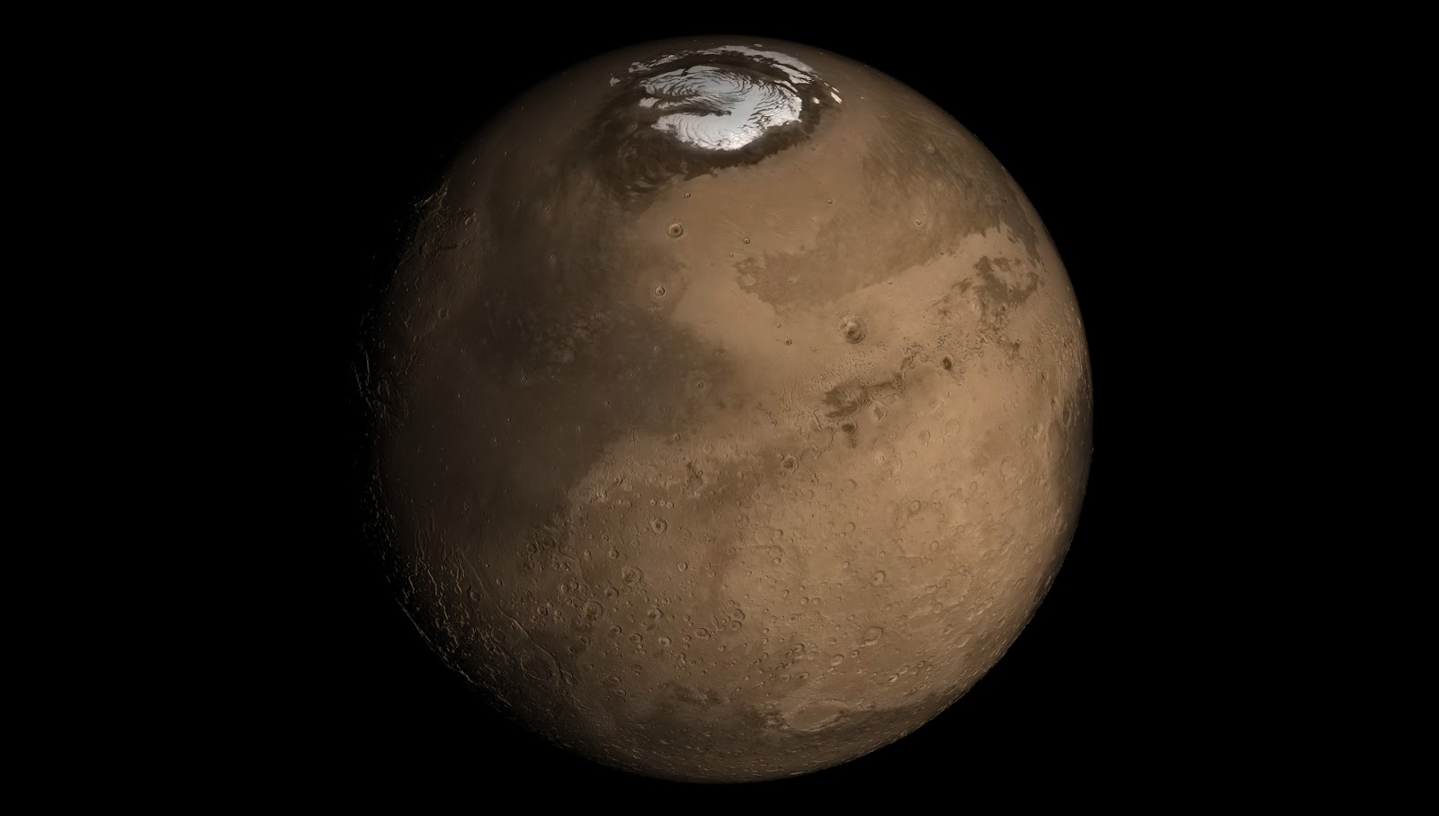 A view of the North Polar ice cap on Mars