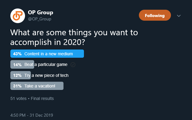 Screenshot of a Twitter poll from @OP_Group inquiring about goals to accomplish for an online content creator in 2020.