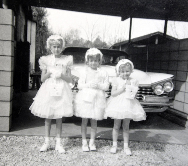 Linda, Wendy and Cindy dressed in company best