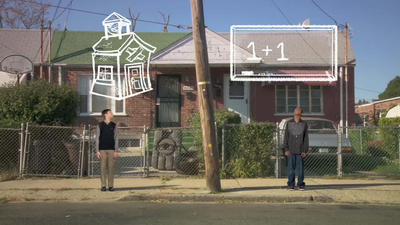 animação com dois homens em calçada em frente a uma casa com contas e desenhos em cima deles