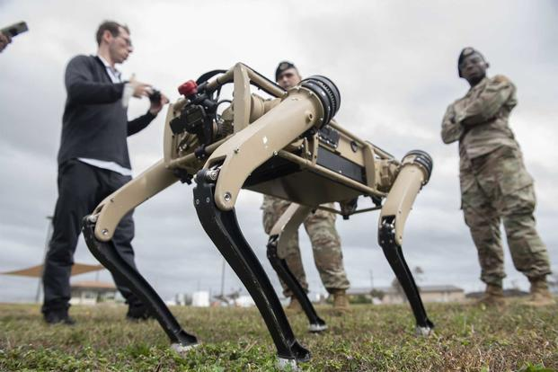 An unmanned ground vehicle is tested at Tyndall Air Force Base.
