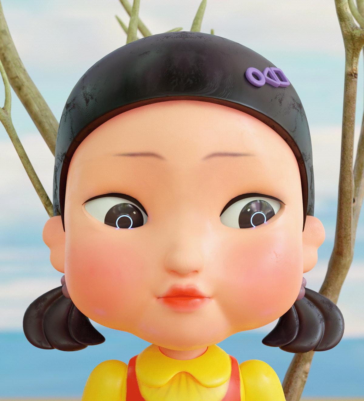 3D animation  blender cartoon Digital Art  game Squid SQUIDGAME