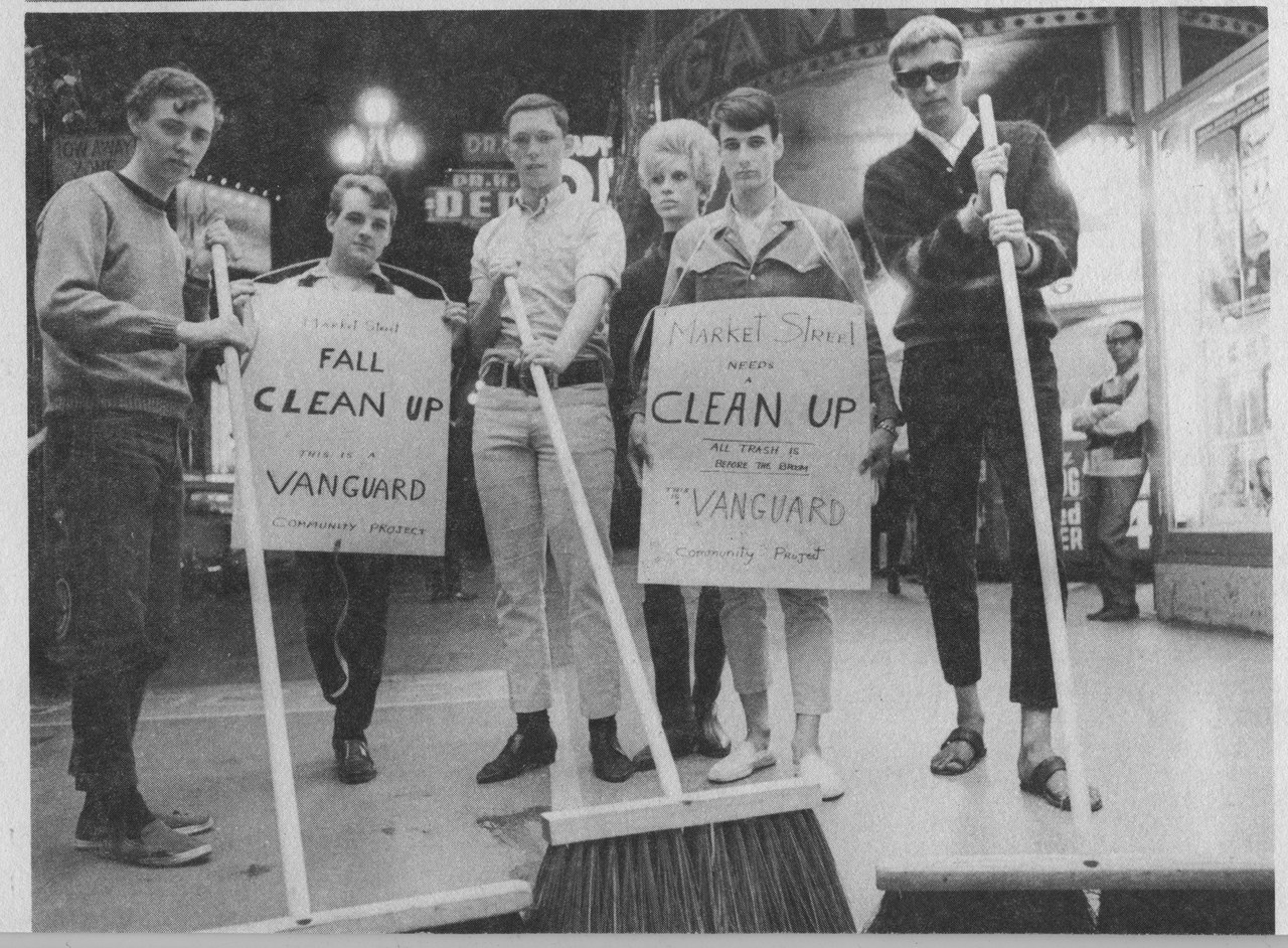 A photo of Vanguard activists documenting their Sweeps action from an October 1966 issue of the group's publication...