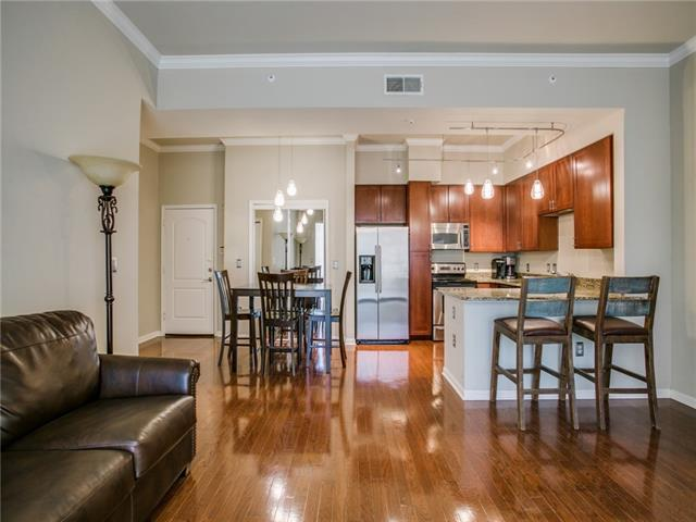 The kitchen, living, and dining area.