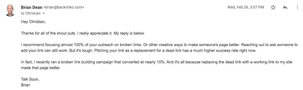 email tiếp cận Brian Dean