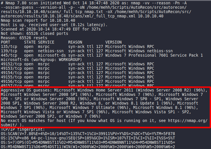 NMAP flags for Operating System and Services detection [--osscan-guess]. Source: nudesystems.com