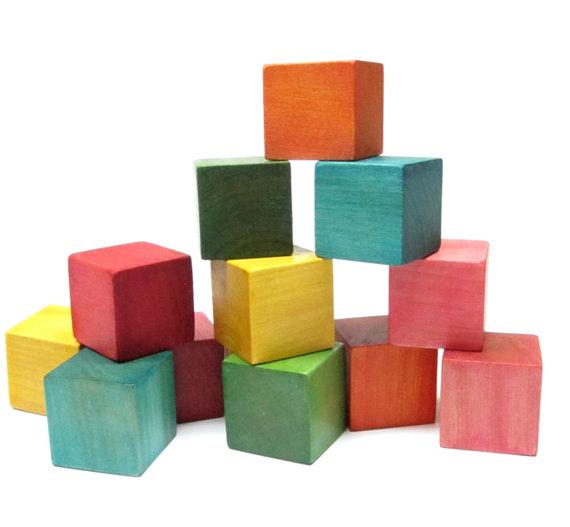 wood toys 28 Blocks colorful waldorf building blocks