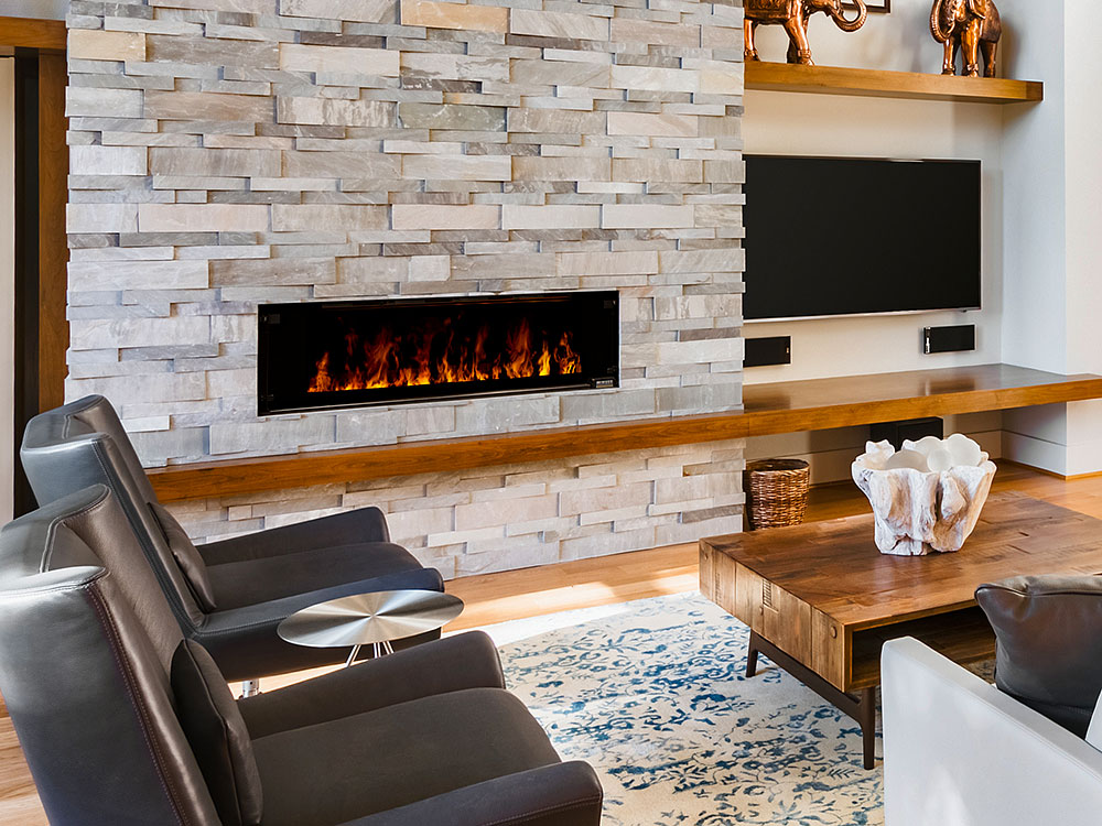 Fancy Electric Fireplace With Stone Surround