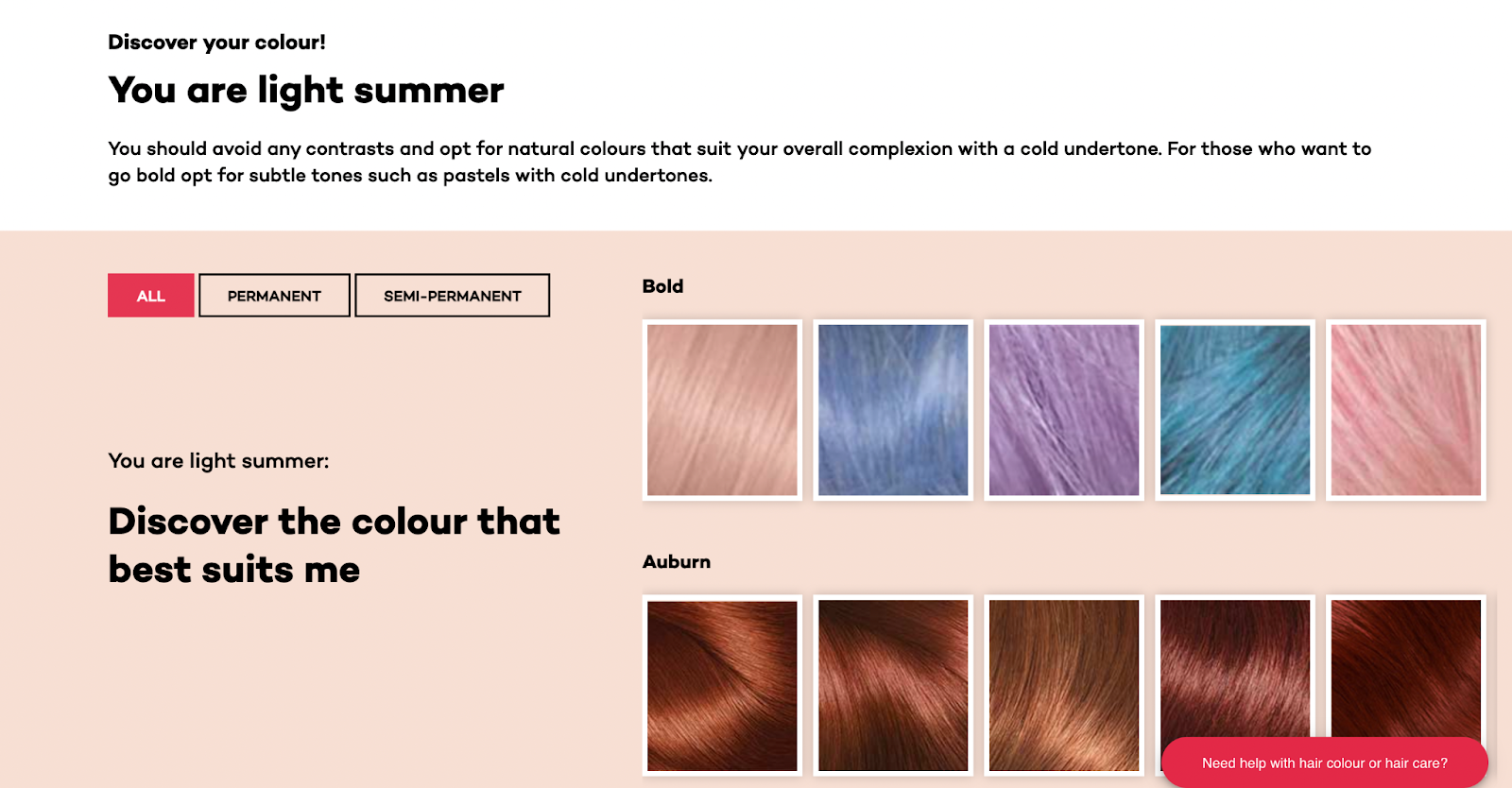 guided selling l'oreal hair color finder