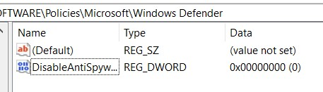 The DisableAntiSpyware key in the Registry Editor